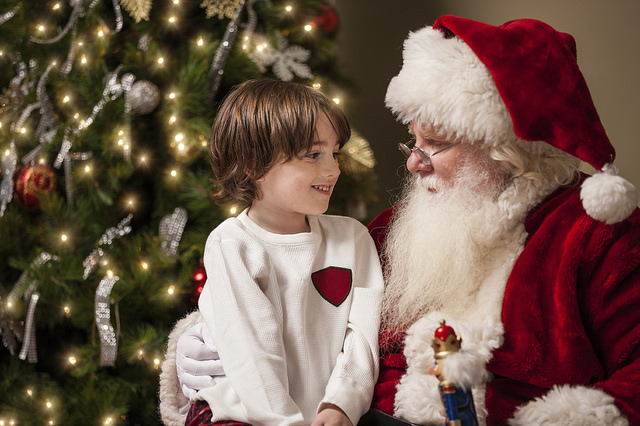 Tampa Bay Holiday Events - Santa little boy Christmas tree